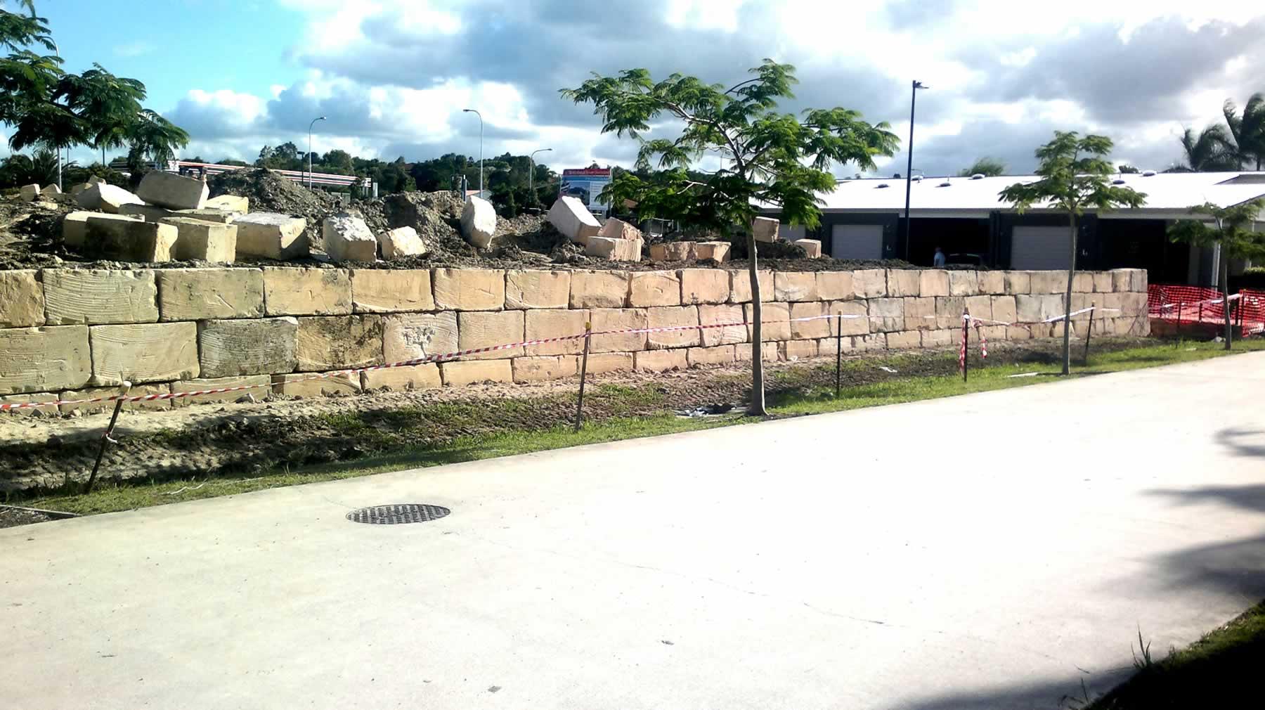 Sawn Sandstone retaining walls gold coast